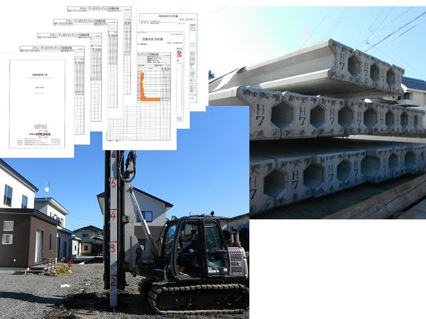地盤調査報告書を元に補強工法を選定(杭工法) 耐久性、強度共に抜群の高強度PC杭を打込む